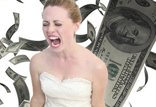 a woman in a white wedding gown screaming as money falls behind her in the background