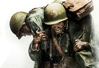 artwork from the cover of the movie hacksaw ridge with a soldier carrying another over his back