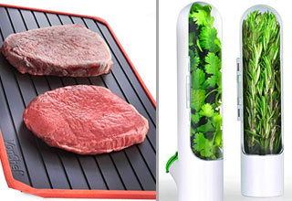 steaks defrosting on a a mat and herb and spice containers