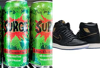 surge cans and a pair of air jordans