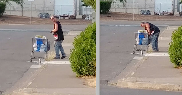 A homeless man in Springfield, Oregon, buys cases of water using food stamps only to dump them out for the $.10 deposit for the bottles.