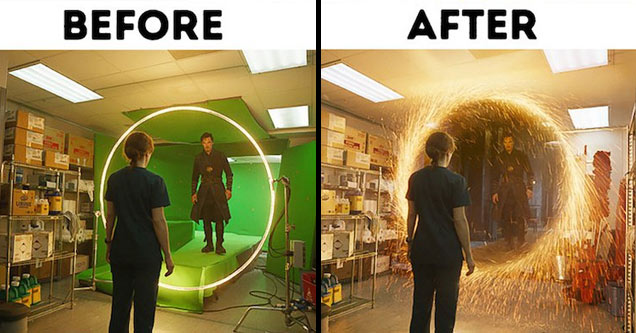 a before and after photo on the set of dr strange showing the props and then the special effects made from them