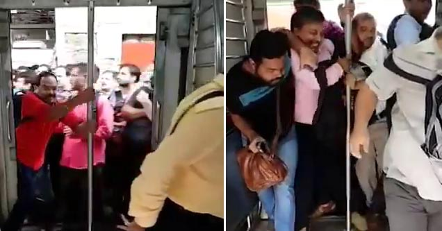 men struggling their way onto a moving train in india