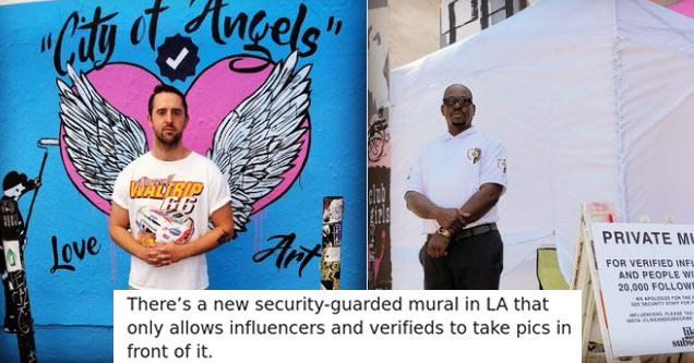 a security guard stands in front of a mural in LA that only allows verified users and social influencers to take photos in front of it