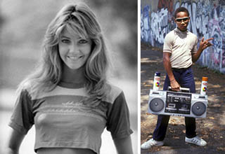 a lady in a crop top, a man with a radio, and on skates from back in the day