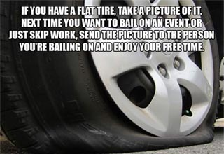 a tire with a unethical life hack laid over it