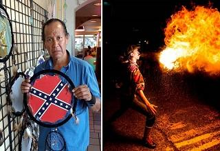 an indian man holding a dream catcher with confederate flag on it and a fire breathing man