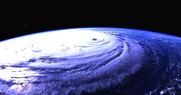 a view of hurricane florence and the earth from outer space