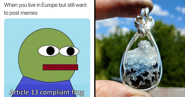 a parody of pepe the frog meme with the EU ban on memes and a cloud pendand