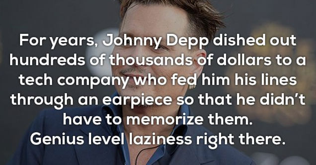 a photo of johnny depp with text about him using an earpiece instead of memorizing his lines