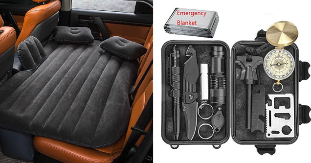 a back seat air mattress and a travel survival kit