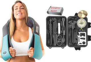 a hot blonde in a white tank top and a travel survival kit
