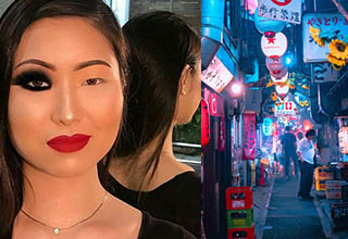a lady with makeup on one eye, the streets of tokyo lit up at night