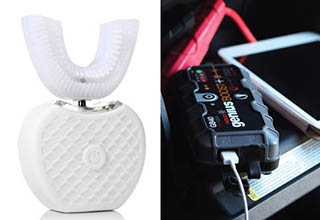 a vibrating tooth cleaner and a car jumper that plugs into an iphone