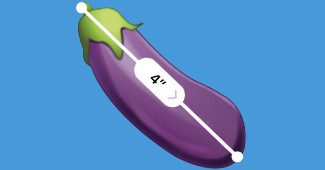 Emoji eggplant getting measure with new iOS12 measuring app