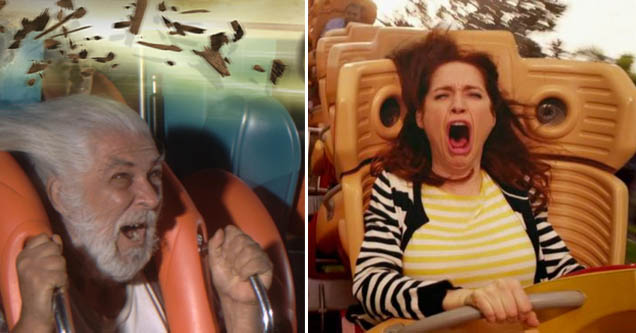 a man with a white beard screaming on a rollercoaster anda . lady with red hair doing the same thing