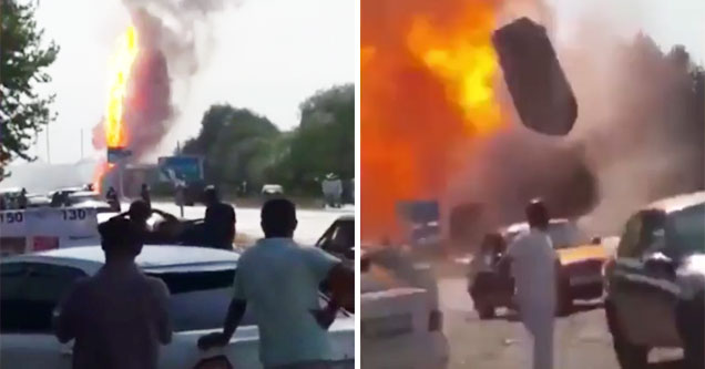 fuel tank explodes in the street