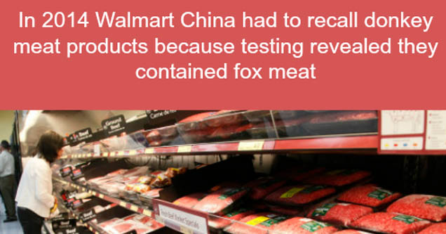 a disturbing image involving various meats at a chinese walmart