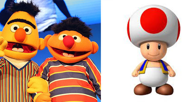 Bert and Ernie from sesame street and toad from mario kart