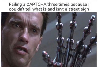 a meme with the terminator played by arnold schwarzenegger  looking at his robot hand after failing a capcha test,
