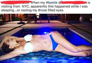 a woman lying perfectly in a pool and claiming she fell asleep that way