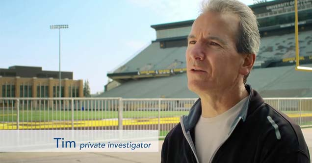 tim a private investigator being interviewed in a field