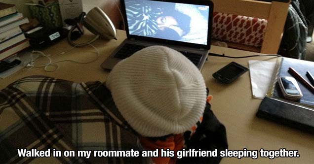 a guy lying in front of his computer sleeping and his girlfriend is doing the same on the webcam