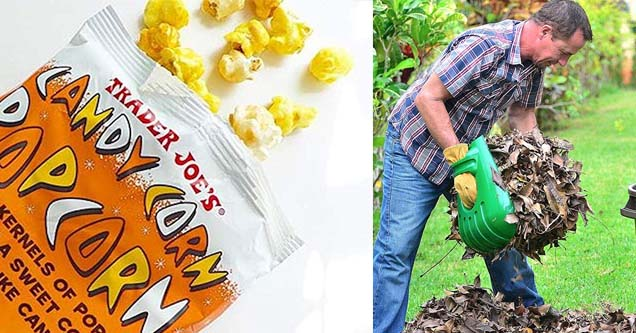 a package of candy corn flavored popcorn and a man raking with weird rake hands