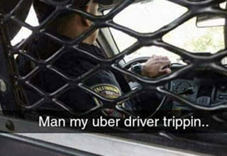 a person in the back of a cop car with text that says the uber driver is tripping