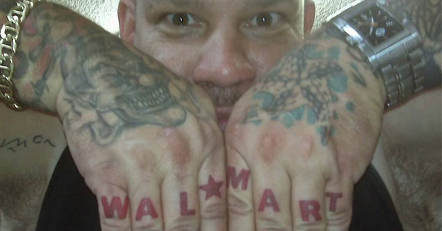 cringe dude with walmart knuckle tattoos