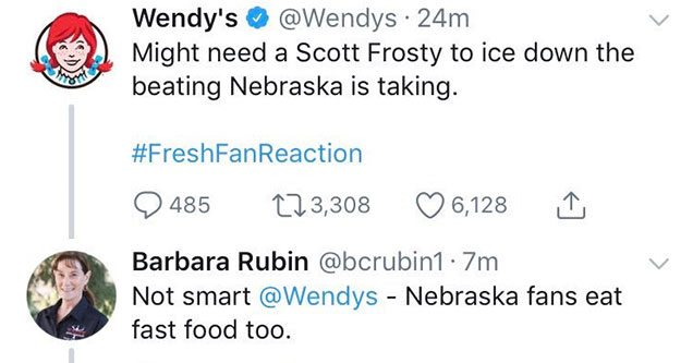 The Wendy's Twitter Account Owns A Salty Nebraska Fan