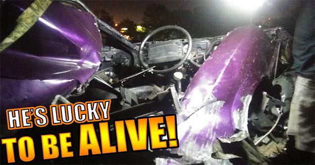 A smashed up car