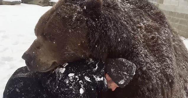 Jim Kowalczik hugs his 9-foot-tall, 1,500-pound Kodiak bear named Jimbo at the Orphaned Wildlife Center in Otisville, New York.