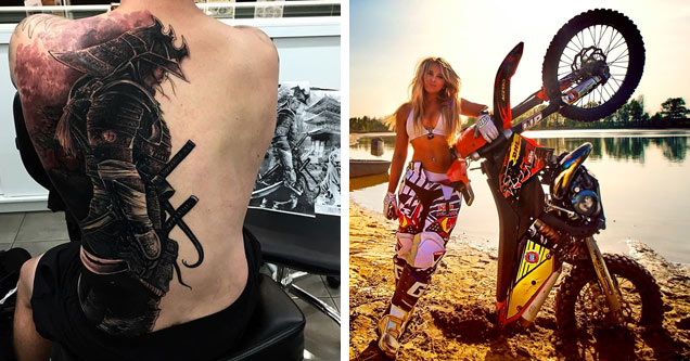 a mans back with a samauri tattoo and a blonde female motocross rider standing next to her bike