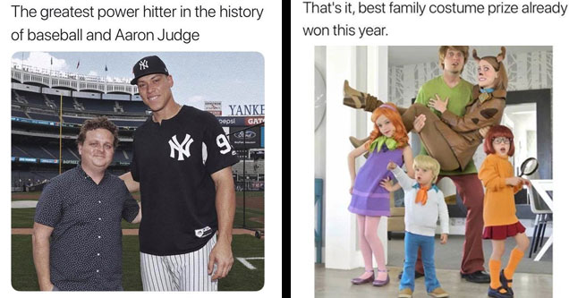 the heavy set catcher from sandlot with mlb player aaron judge and an entire family cosplaying as scooby doo characters