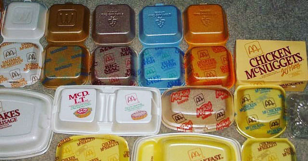 Various mcdonalds food containers for the 80s