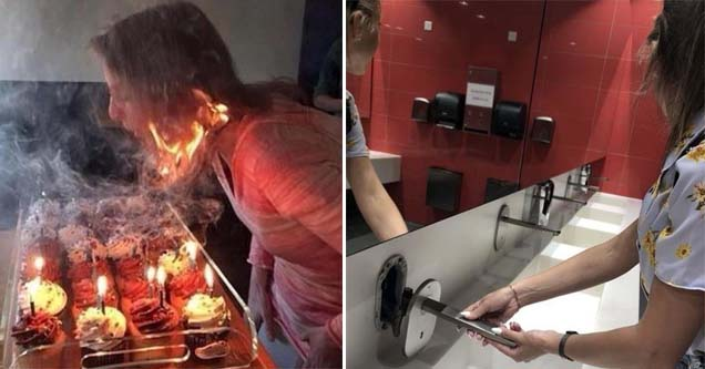 a lady who's hair is on fire and a soup dispenser being unplugged in a bathroom