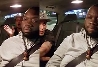 a lyft driver looking pissed of as his passenger rants and raves in the backseat