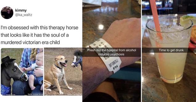 a horse that looks like an scary child and a man holding his hospital wristband up to an alcoholic drink