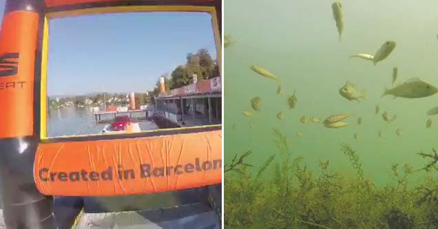 a inflatable orange drone obstacle and a school of fish in a lake