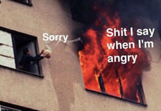 a man throwing a bucket of water onto a raging fire with text that says sorry and shit i say when im angry
