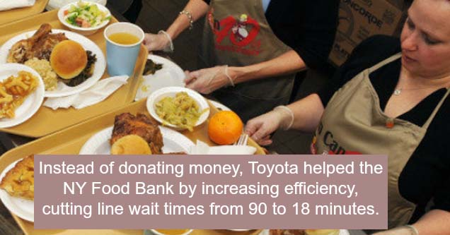 a food bank that got help from toyota in efficiency