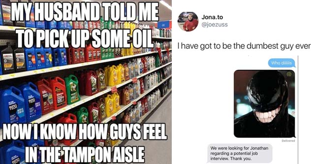an oil aisle meme about tampons and a mistaken text of venom from the movie venom