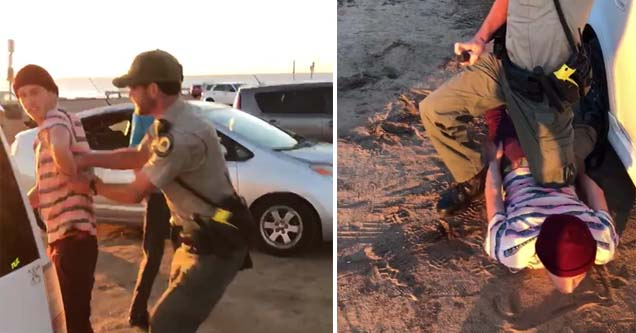 a park ranger confronting a teen in a stripped shirt and beanie and then bringing him to the ground