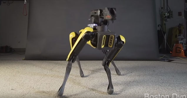a robot from boston dynamics named spot dancing to bruno mars uptown funk