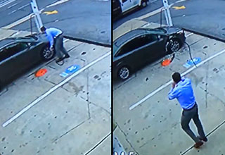A man is filling up his tire at a gas station in Chevy Chase, Maryland as seen from security footage from the gas station.