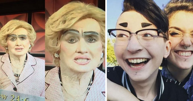Woman on news smiling with bad eyebrows. Girl with glasses and friend with short eyebrows.