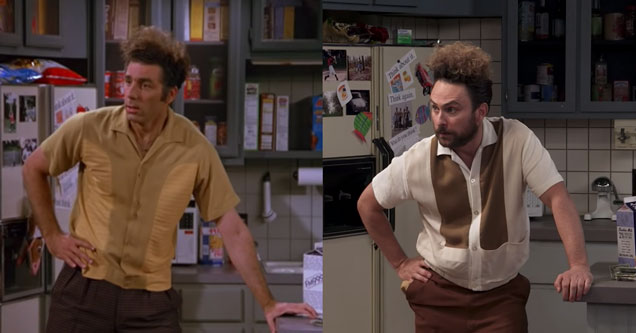 Kramer from Seinfeld next to Charlie from It's always Sunny