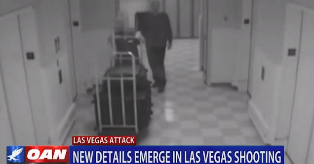 hotel surveilance footage of stephen paddock the las vegas shooter walking down the hallway
