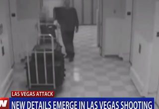 hotel surveilance footage of stephen paddock the las vegas shooter walking down the hallway